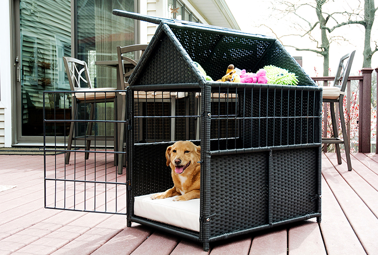Rattan Pet Crate With Storage